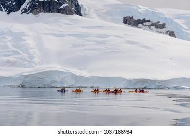 Kayaking in Antarctic sea