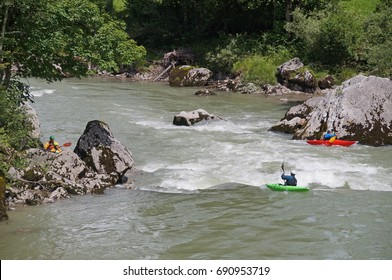 Kayaking ionthe the Saalachtal river close to the town of Lofer in the Pinzgau region during the summertime