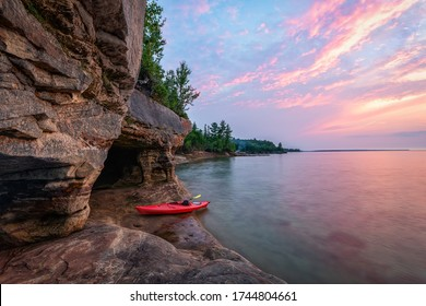 Kayaking Lake Superior Caves near Munising, Michigan.