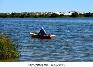 Kayaking at the ocean beach cove
