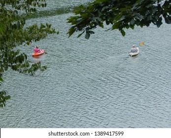 Kayaking on Bald Mountain Lake at the Rumbling Bald Resort in Lake Lure, NC