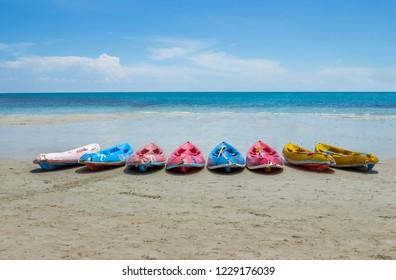 Kayaking on the beach.