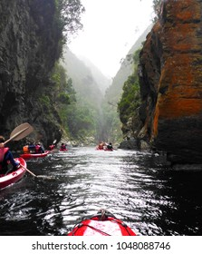 Kayaking on the beautiful storms river in the Tsitsikamma National Park in South Africa