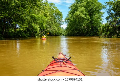 Kayaking on Big Elkhorn Creek in Central Kentucky in summer