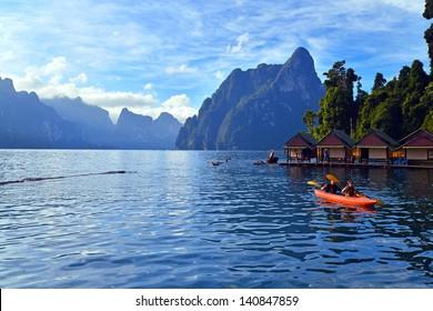Kayaking on Cheo Lan lake. Khao Sok National Park. Thailand.