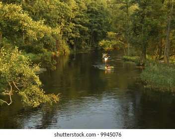 Kayaking on Krutynia river, Poland