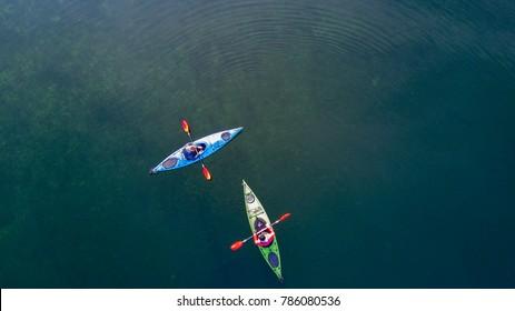 Kayaking on a lake aerial view