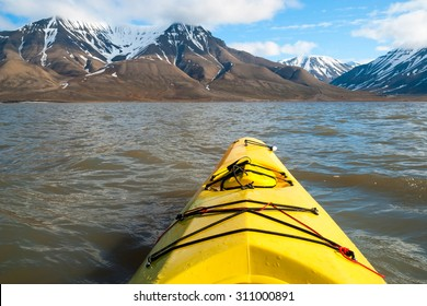 Kayaking on the sea, first person view, Arctic, Norway
