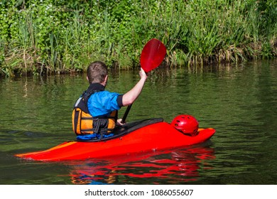 Kayaking on a sunny day.