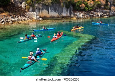 Kayaking over one of the sunken harbors of ancient Dolichiste, Kekova lagoon, Lycia, Antalya province, Turkey. Date taken: 12.5.2016