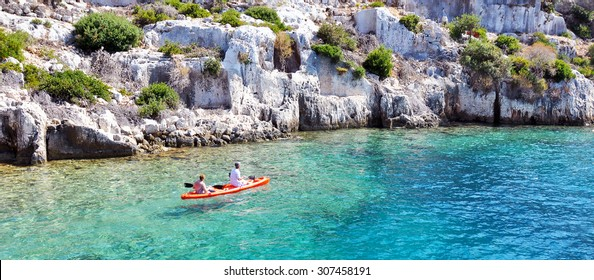 Kayaking in ruins of the ancient city on the Kekova island, Turkey
