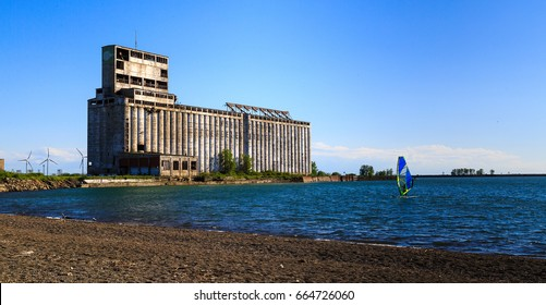 Kayaking, sail boating, family activities, showing Lake Erie and shoreline in Buffalo NY along the park area. Area has been recently renovated by the city of Buffalo to provide family entertainment.