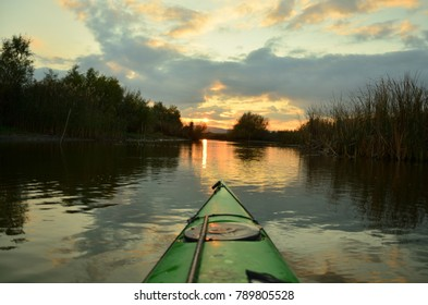kayaking at sunset in the delta