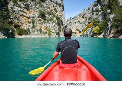 kayaking in Verdon Canyon in springtime, Provence. France