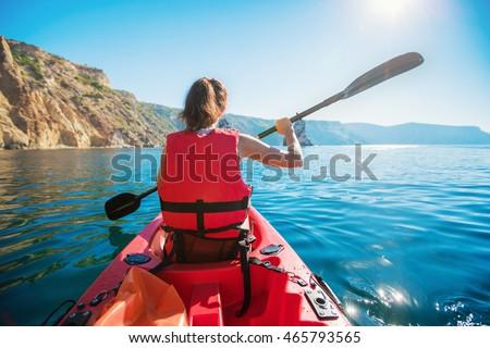 kayaking woman kayak girl paddling calm stock photo edit now
