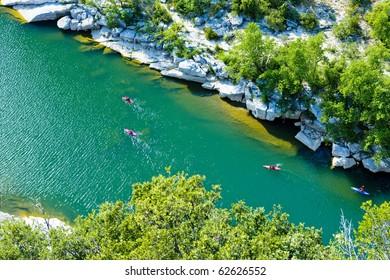 kayaks in Ardeche Gorge, Rhone-Alpes, France