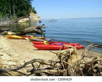 Kayaks beached on Fossil Island, Westmoreland State Park, Virginia.