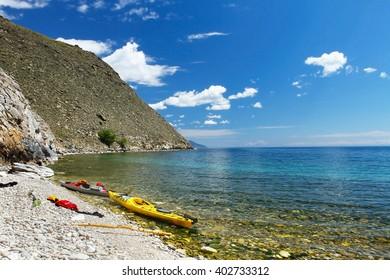Kayaks on the coast of Lake Baikal
