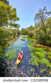 kayaks on  river Sorgue in Fontaine de Vaucluse. Vaucluse, Provence, France, Europe