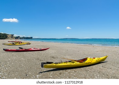Kayaks parking along the Long Bay Beach Park in Auckland,New Zealand.