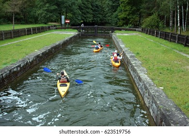 Kayaks passed lock of Augustow Canal between Poland and Belarus near Augustow (Poland)