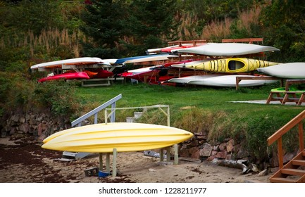 Kayaks in Racks in Saguenay, Quebec, Canada