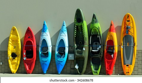 Kayaks for sale at sporting goods store