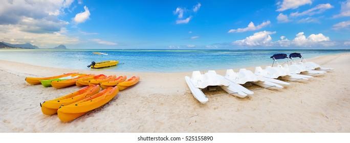 Kayaks at Wolmar beach. Mauritius. Panorama