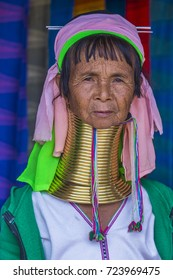 KAYAN STATE , MYANMAR - SEP 09 : Portrait of Kayan tribe woman in Kayan state Myanmar on September 09 2017 , Kayan tribe women are well known for wearing neck rings.
