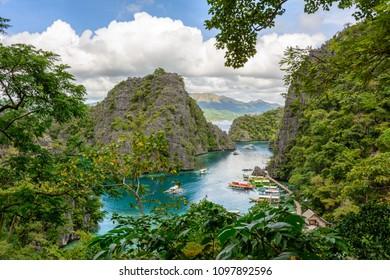 Kayangan Lake viewpoint. Coron Island bay, Palawan. The Philippines