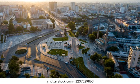 kayseri city center sunrise and historic kayseri castle