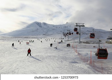 Kayseri Erciyes / Turkey - January 2014: popular ski resort in Turkey. Erciyes Mountain. A view from the winter season.