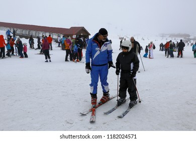 Kayseri, Mount Erciyes / Turkey - January  2014: Erciyes ski center also offers favorable conditions for taking ski lessons.