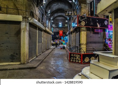 KAYSERI, KAYSERI PROVINCE/TURKEY- AUGUST 11 2015 : View of the streets of Kayseri in Turkey. Kayseri street market in Turkey.