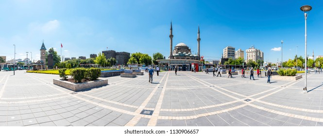 Kayseri, Turkey - July 05, 2018 : Cumhuriyet Square view in Kayseri City of Turkey.