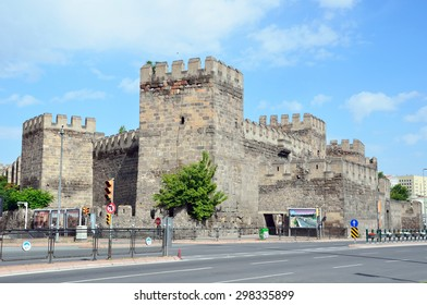 KAYSERI, TURKEY â?? JUNE 28 2015: Kayseri castle and walls were first built in the third century under the Roman emperor Gordian III and rebuilt by the Byzantine emperor Justinian 300 years later.