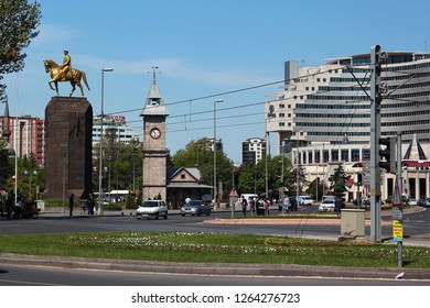Kayseri, Turkey - May 2, 2013: Hilton Kayseri hotel, Clock Tower and Ataturk monument in the center of Kayseri city.