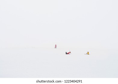 Kayseri, Turkey - Tourist with ski suit on Mount Erciyes ski resort covered with snow in winter on a foggy day