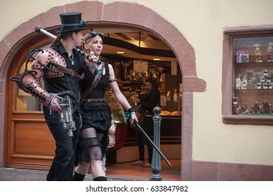KAYSERSBERG - France - 29 April 2017 - couple with Steam punk costume at the steam punk exhibition in Kaysersberg village