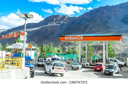 Kaza, Spiti, Himachal Pradesh - June 19, 2018 - A picture of Indian Oil petrol pump situated at an altitude of 3740 metres (12270 ft). It is said to be World's highest retail outlet of Indian Oil.