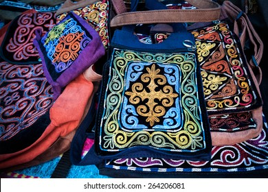 Kazakh ethnic bags with ornament in the market at Nauryz celebration in Almaty, Kazakhstan, central Asia