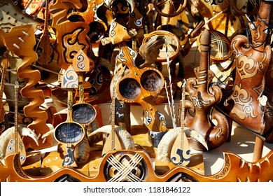 Kazakh ethnic musical instruments on the market in Almaty, Kazakhstan