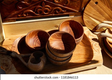 Kazakh ethnic wooden utensils on the fair market in Almaty, Kazakhstan