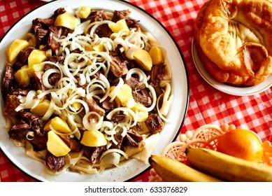 "The Kazakh national dish ""Beshbarmak"""