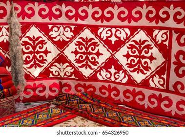 Kazakh national dwelling Yurt interior details. Ethnic dwelling