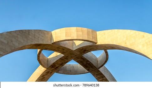 Kazakh national symbol of shanyrak against the sky