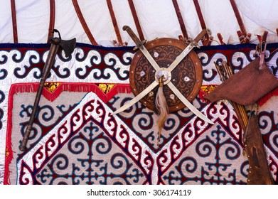 Kazakh national weapon in yurt