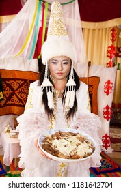 Kazakh women with national food– stock image