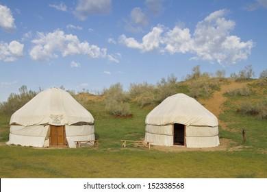 Kazakh yurt in the Kyzylkum desert in Uzbekistan