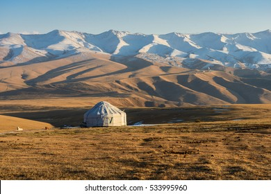 Kazakh yurt on the Silk Way in Kazakhstan mountains.